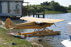 J-3 floatplane at Jack Brown's seaplane base, to be joined by two ex-Hunter pilots